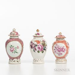 Three Polychrome Decorated Export Porcelain Jars