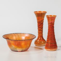 Three Imperial Art Glass Items