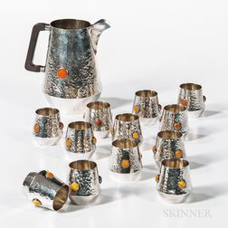 Polish .916 Silver Drinking Service