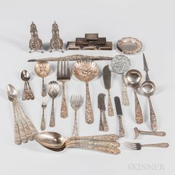 Group of Kirk Repousse Sterling Silver Tableware