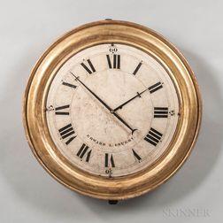 "Gilt Gallery Clock Signed ""Edward L. Grueby,"""