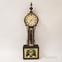 Reproduction Aaron William Inlaid and Reverse-painted Mahogany Patent Timepiece