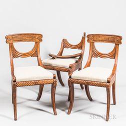 "Three ""Grecian"" Carved Mahogany Side Chairs"