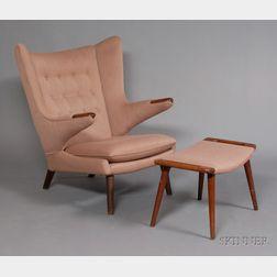 Hans Wegner (1914-2007) Papa Bear Chair with Ottoman