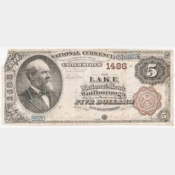 1882 The Lake National Bank of Wolfborough Brown Back $5 Note