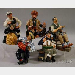 Five Royal Doulton Porcelain Figures and Figural Groups