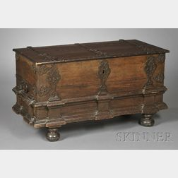 Continental Baroque Wrought-iron Mounted Oak Chest