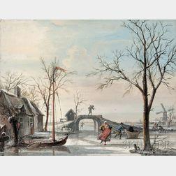 School of Cornelis Troost (Dutch, 1697-1750)      Skaters on a Frozen Canal