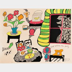 Niki de Saint Phalle (French, 1930-2002)      Three Works:  The Witch's Tea Party