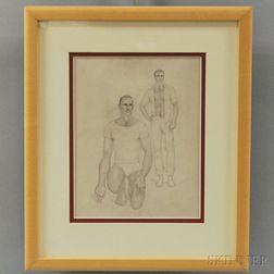 John B. Lear, Jr. (American, 1910-2008)      Portrait of Two Men.