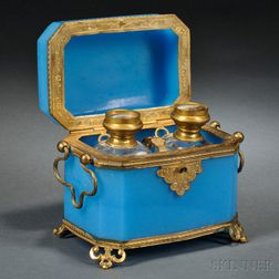 Brass-mounted Blue Opaline Box and Cover