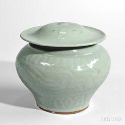 Longquan Celadon Lidded Guan   Jar