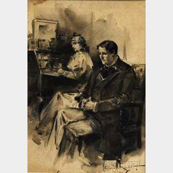 Walter Granville-Smith (American, 1870-1938)      Couple in an Interior