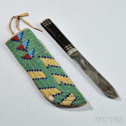 Arapaho Beaded Hide Knife Sheath