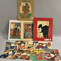 Twelve Toyokuni Kabuki Woodblock Prints