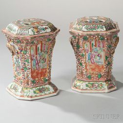 Pair of Rose Medallion Porcelain Bough Pots and Covers