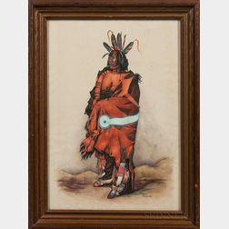 """Watercolor Depicting """"Pachtüwa-Chtä, an Arrikkara Warrior,"""" After Karl Bodmer"""