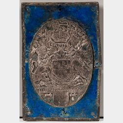 British Royal Armorial English Enameled Metal Plate, Super Libros, Bookplate.