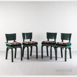 Four Thonet Chairs with Stylized Magnolia Blossom Cushions
