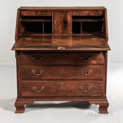 Chippendale Carved Walnut Slant-lid Desk