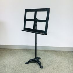 Black-painted Wood and Cast Iron Music Stand