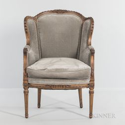 Louis XVI-style Carved and Upholstered Bergere