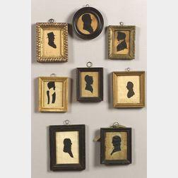 Eight Miniature Hollow-Cut Profile Portrait Silhouettes