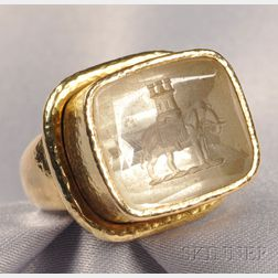 18kt Gold and Rock Crystal Intaglio Ring, Elizabeth Locke