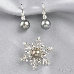 Two Black Cultured Pearl and Diamond Jewelry Items, Mikimoto