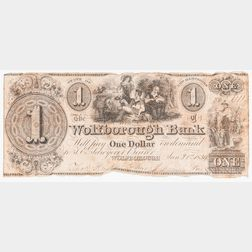 1839 Wolfborough Bank $1 Note