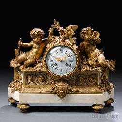 Ormolu and Marble Mantel Clock by Deniere