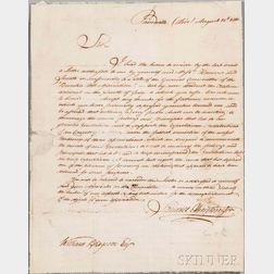 Huntington, Samuel H. (1765-1817) Letter Signed, 12 August 1810.