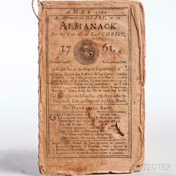 Ames, Nathaniel (1708-1764) Ames 1761. An Astronomical Diary, or an Almanack for the Year of our Lord Christ, 1761.