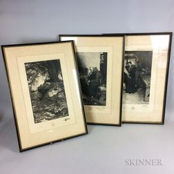Three Framed Howard Pyle Etchings for the Bibliophile Society