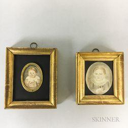 Two Watercolor Miniature Portraits of Children