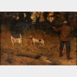 School of Arthur Burdett Frost (American, 1851-1928)      Hunter Shooting with Two Dogs