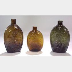 Three Blown Molded Cornucopia Glass Flasks