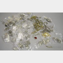 Group of Assorted Vintage to Modern Colorless Paste Costume Jewelry