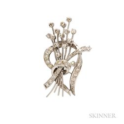 Platinum and Diamond Spray Brooch