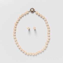 Cultured Pearl Necklace and Earrings