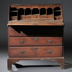 John Linsly Queen Anne Cherry and Beech Slant-lid Desk