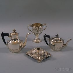 Four Pieces of Sterling Silver and Silver-plated Tableware