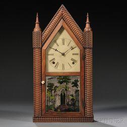 J.C. Brown Rosewood Ripple Front Steeple Clock