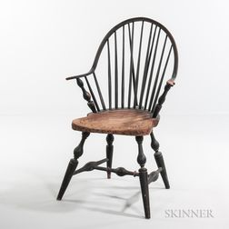 Black-painted Braced Bow-back Continuous-arm Windsor Chair