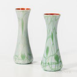 Near Pair of Imperial Art Glass Vases