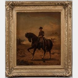 Thomas Buchanan Read (New York/Pennsylvania, 1822-1872)      Portrait of a U.S. Cavalry First Sergeant on Horseback