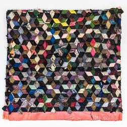 Silk Taffeta Tumbling Block Quilt