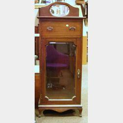 1920s British Mahogany and Beveled Glass Music Cabinet.
