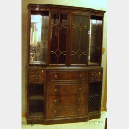 Georgian-style Carved Mahogany and Mahogany Veneer Butler's Desk/Bookcase