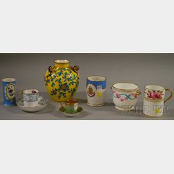 Nine Pieces of English and European Decorated Porcelain Tableware